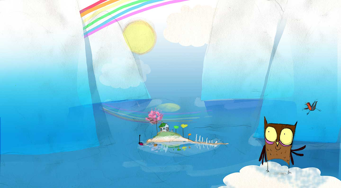 Ozz the Owl and Pip the Robin sit on a cloud looking at their little island under a rainbow